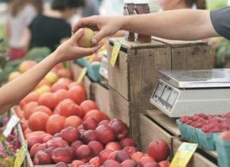 jabłko, sprzedaż, targ, rolnik